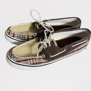 Sperry Gray & Plaid Boat Shoes Sz 9